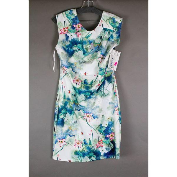 WHITE/ GARDEN PAPILLION DESIGNER DRESS; SIZE LRG