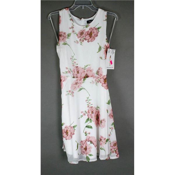 WHITE/ PINK FLORAL PAPILLION DESIGNER DRESS;