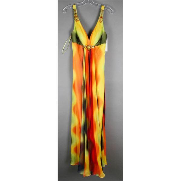 MULTI COLORED BELLA FORMAL DESIGNER DRESS;