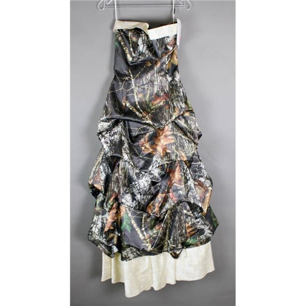 GREEN CAMO FORMAL BRIDAL GOWN; SIZE 8