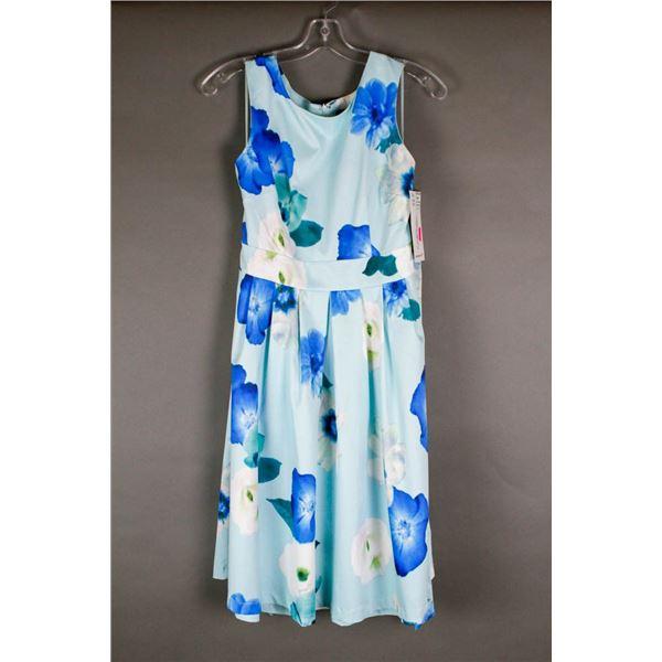 BLUE/ FLORAL PAPILLION DESIGNER DRESS;