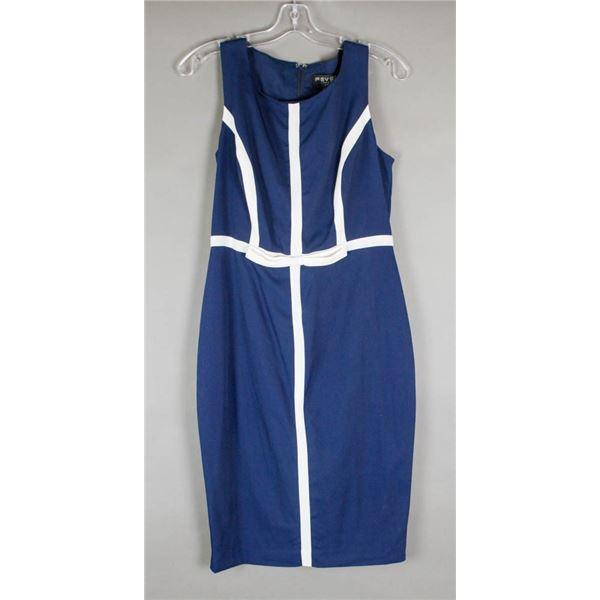 NAVY BLUE & WHITE FEVER LONDON DESIGNER DRESS;