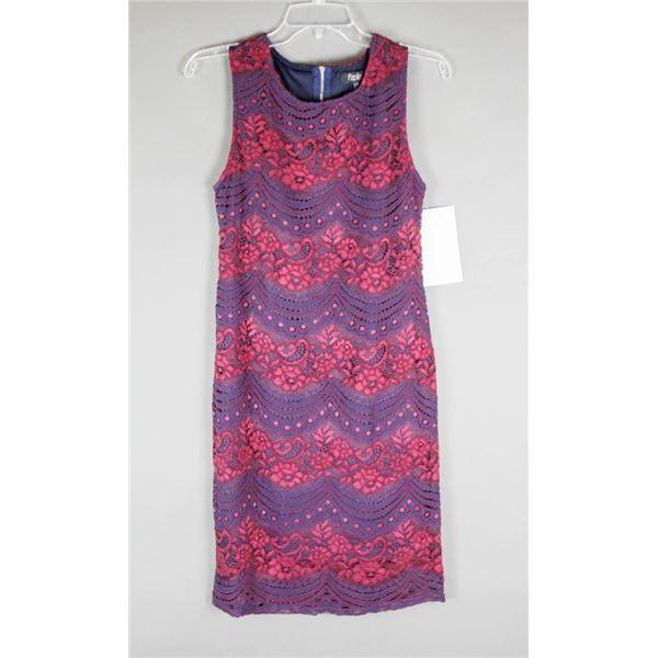NAVY BLUE/ PLUM LACE PAPILLION DESIGNER DRESS;