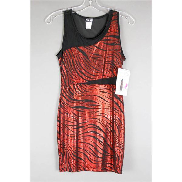 METALLIC RED/ BLACK DK FASHION DESIGNER DRESS;