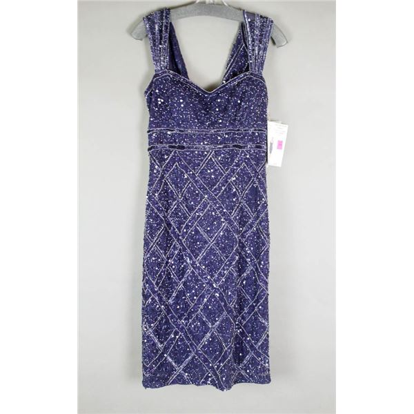 NAVY BLUE BEADED SEQUINS JS GROUP DESIGNER DRESS;