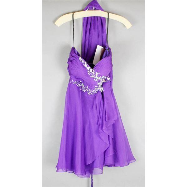 PURPLE/ BEADED JOLENE FORMAL DESIGNER DRESS