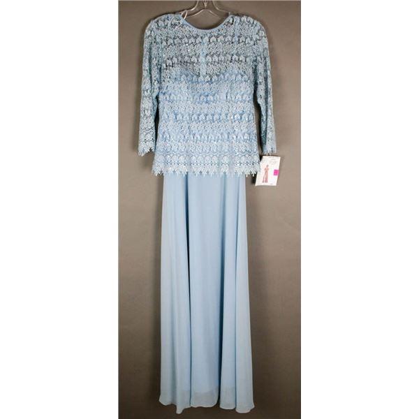 SKY BLUE LACE TOP JOLENE FORMAL DESIGNER DRESS;
