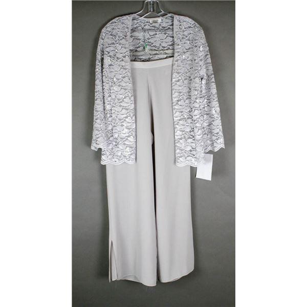 LIGHT GREY JOLENE 2PC FORMAL DESIGNER DRESS