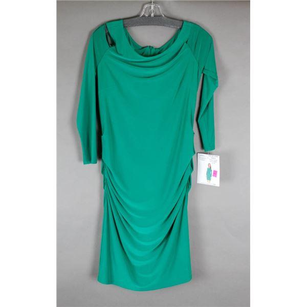 GREEN CARTISE OPEN SHOULDER DESIGNER DRESS;