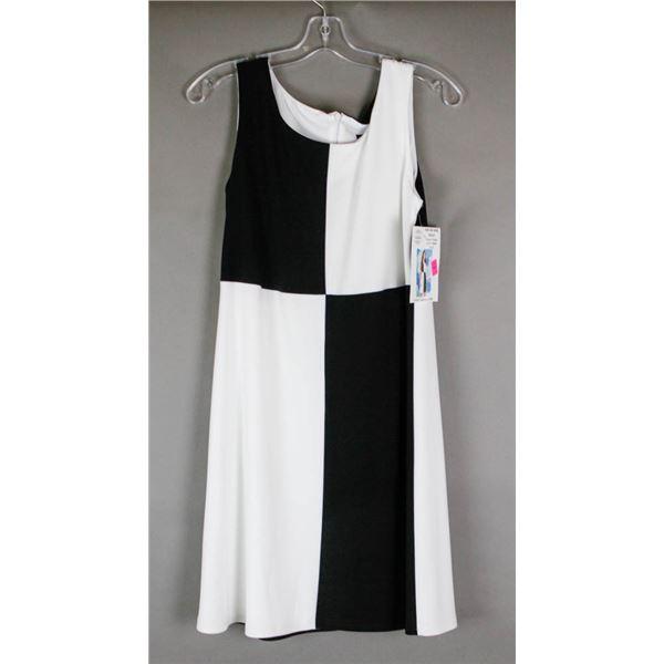 BLACK & WHITE SQUARE CARTISE DESIGNER DRESS;