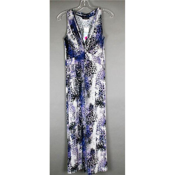 BLUE/ WHITE PRINTED JULIA IMPEX DESIGNER DRESS;