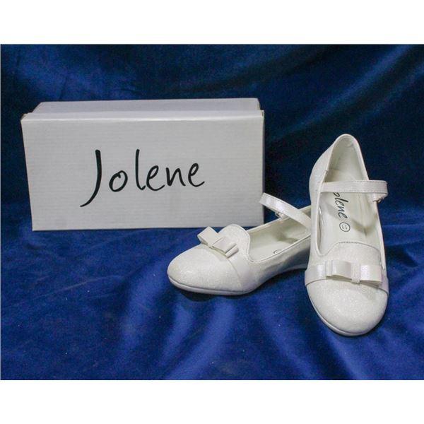 WHITE SPARKLE JOLENE CHILDREN'S BRIDAL SLIPPERS;