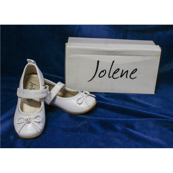 WHITE JOLENE TODDLERS BRIDAL SLIPPERS;