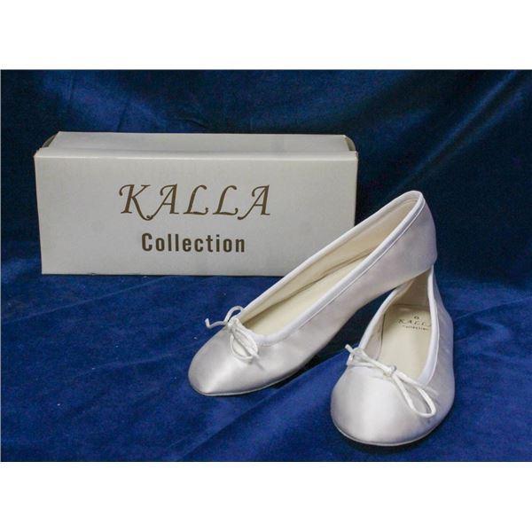 WHITE KALLA COLLECTION BRIDAL BALLET SLIPPERS;