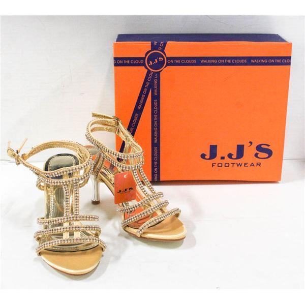 GOLD / RHINESTONE STUDDED HIGH HEEL J.J'S FOOTWEAR