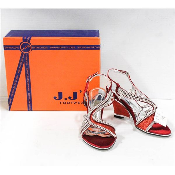 RED/ RHINESTONE STUDDED HIGH HEEL J.J'S FOOTWEAR