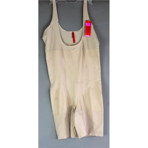 SPANX OPEN BUST MID-THIGH BODY SUIT; NATURAL-