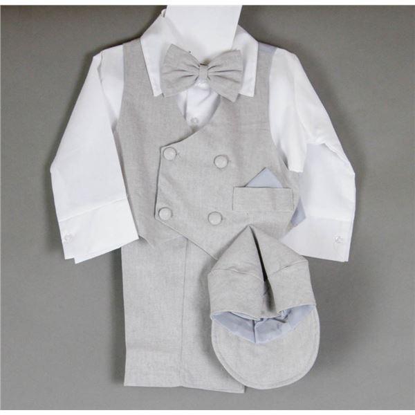 GREY/ WHITE JOLENE CHILDREN'S 4PC SUIT; SIZE 12M