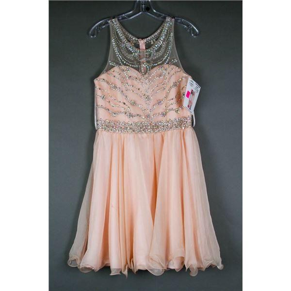 LIGHT PINK JOLENE YOUTH DESIGNER FORMAL DRESS;
