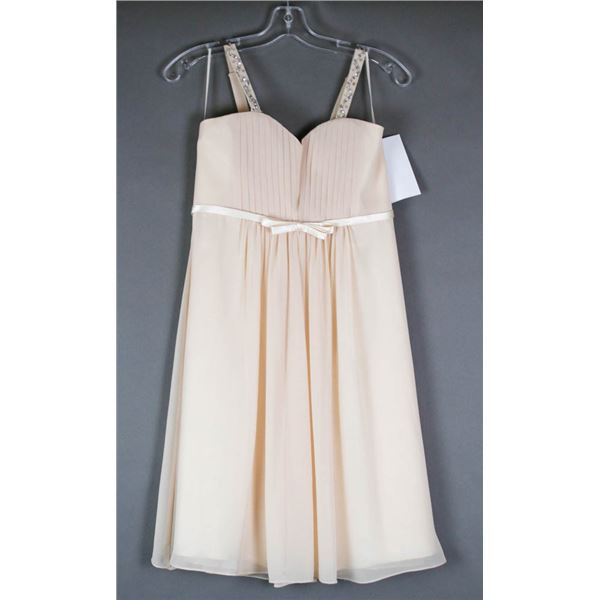 CHAMPAGNE JOLENE YOUTH DESIGNER DRESS; SIZE 14