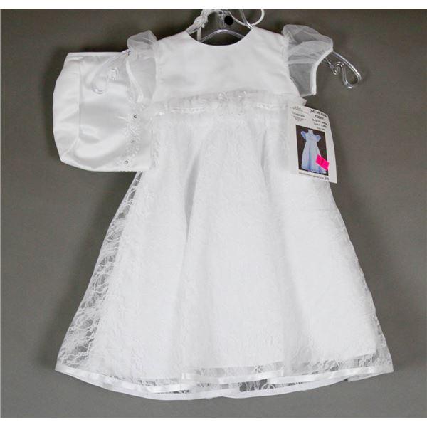 WHITE LACE JOLENE INFANTS DESIGNER DRESS W/