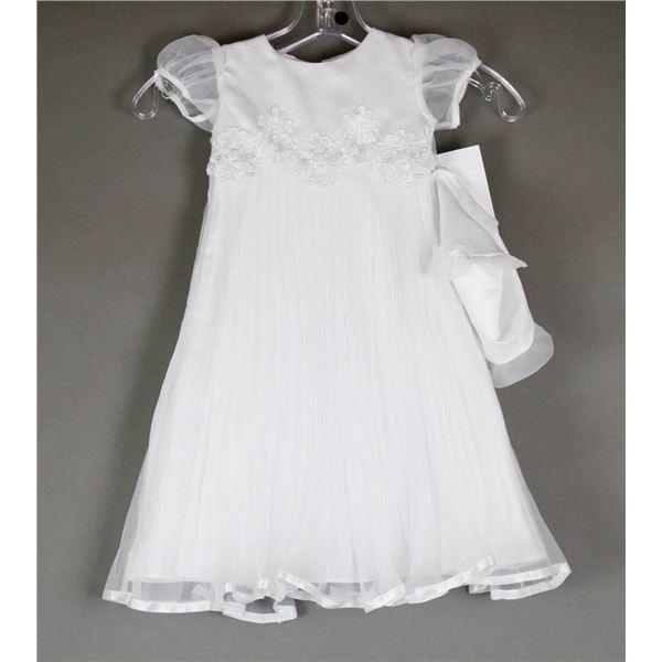WHITE SHEER JOLENE INFANTS DESIGNER DRESS W/