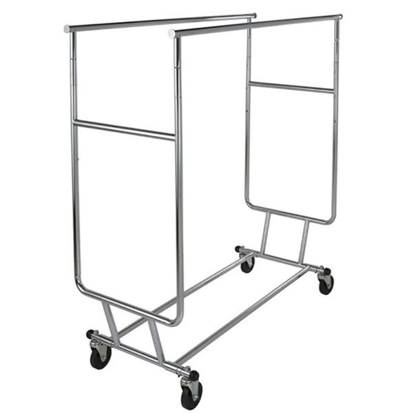 XL DOUBLE METAL CLOTHING ROLLING  RACK- STORE