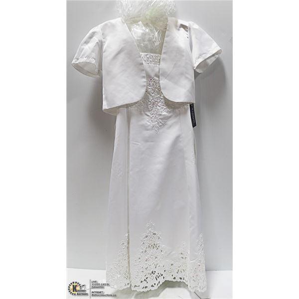 NEW - KIDS SZ 12, WHITE FORMAL. WEDDING