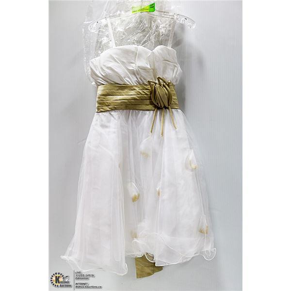 NEW - KIDS SZ 6X WHITE/BEIGE FORMAL. WEDDING