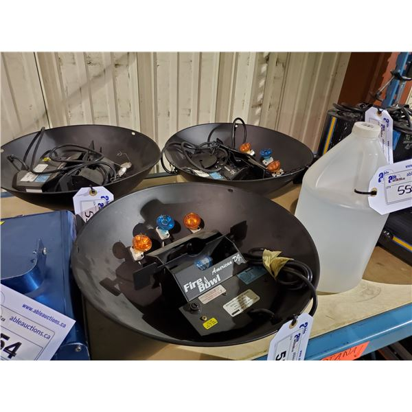 3 AMERICAN DJ PROFESSIONAL FIRE BOWL SYSTEMS WITH REEL EFX DF-50 DIFFUSION HAZE FLUID