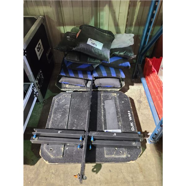 2 INDUSTRIAL MOBILE SPEAKER DOLLIES, 2 JBL SPEAKER MOUNTING BRACKETS, & ASSORTED SAND BAGS