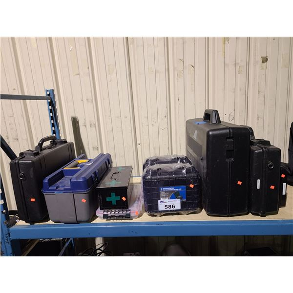 ASSORTED HEAVY DUTY PLASTIC TRANSPORT CASES & TOOLBOX