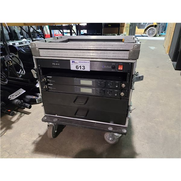 DUAL SHURE MIC 2 DRAWER MOBILE RACK MOUNT PRODUCTION CASE WITH POWER DISTRIBUTION
