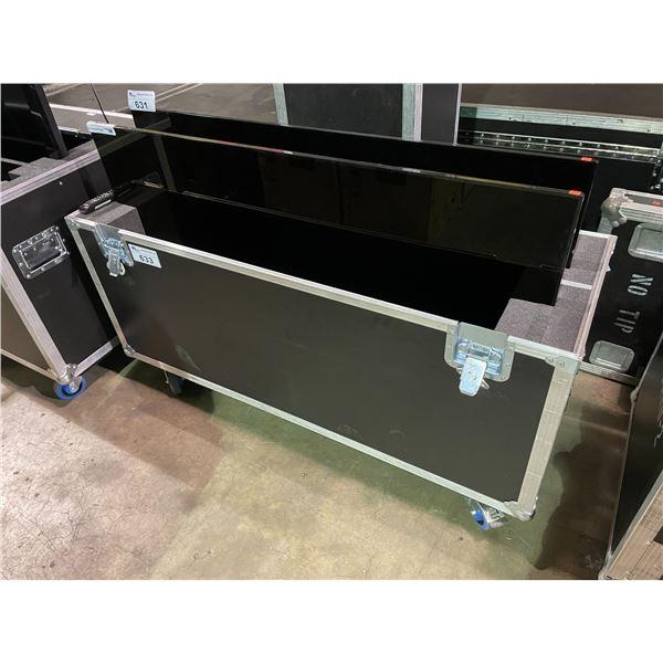 "BLACK PROFESSIONAL DUAL TELEVISION MOBILE ROAD CASE 54""W X 18""D X 38""H"