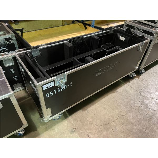 "2 CHIEF PF1UB TELEVISION D-STANDS IN BLACK MOBILE ROAD CASE 70W X 24""D X 33""H"