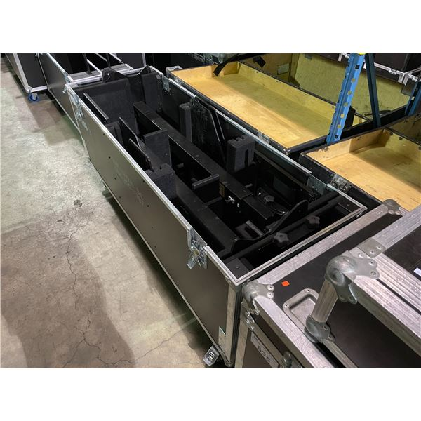"""2 CHIEF PF1UB TELEVISION D-STANDS IN BLACK MOBILE ROAD CASE 70W X 24""""D X 33""""H"""