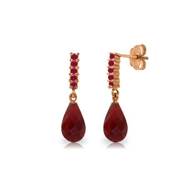 Genuine 7 ctw Ruby Earrings 14KT Rose Gold - REF-32Y3F