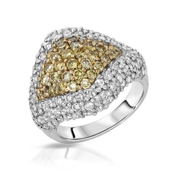 Natural 3.51 CTW Diamond & Yellow Round Diamond Ring 14K Two Tone Gold - REF-343F8M