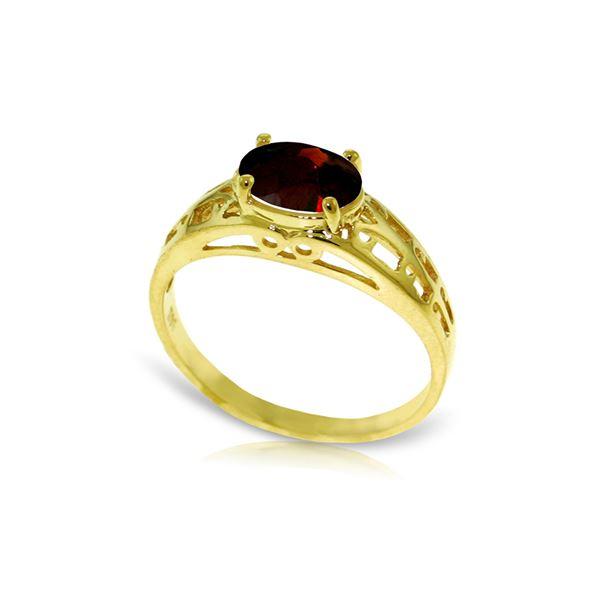 Genuine 1.15 ctw Garnet Ring 14KT Yellow Gold - REF-32N3R