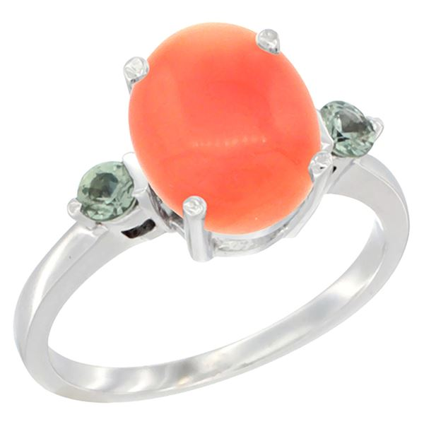 0.24 CTW Green Sapphire & Natural Coral Ring 14K White Gold - REF-31X6M