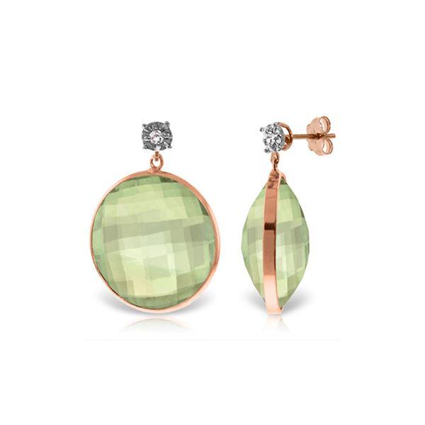 Genuine 36.06 ctw Green Amethyst & Diamond Earrings 14KT Rose Gold - REF-87V5W
