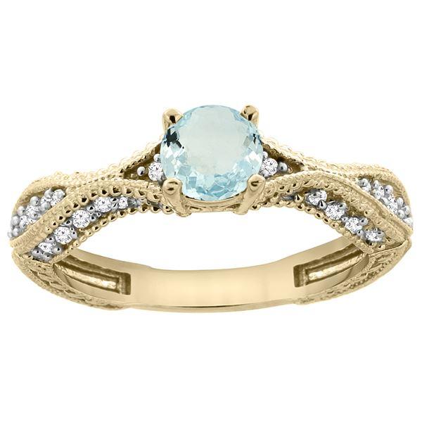 0.67 CTW Aquamarine & Diamond Ring 14K Yellow Gold - REF-68F9N
