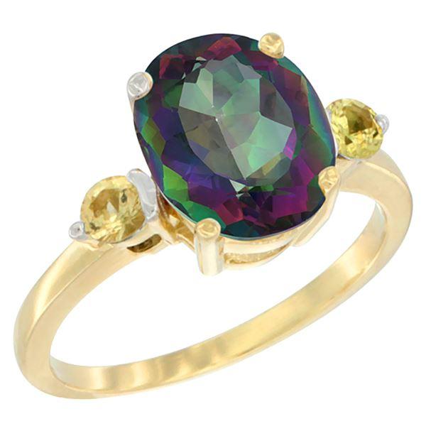 2.64 CTW Mystic Topaz & Yellow Sapphire Ring 14K Yellow Gold - REF-32M3A
