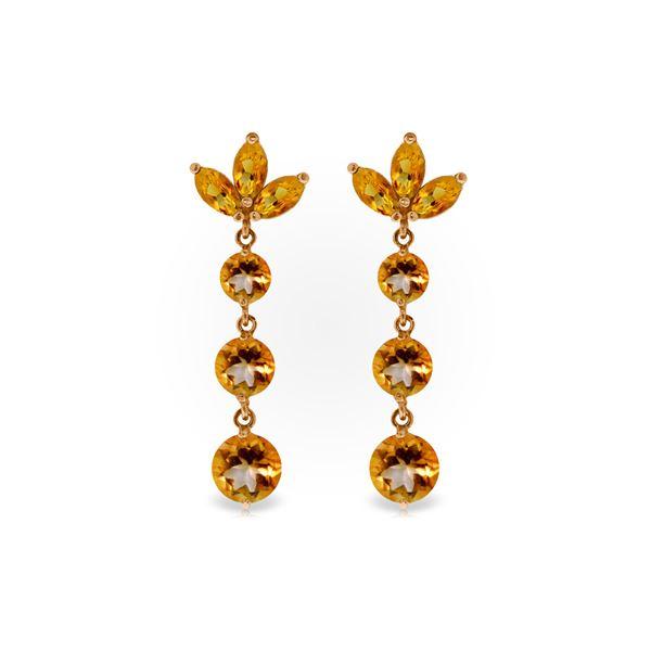 Genuine 8.7 ctw Citrine Earrings 14KT Rose Gold - REF-53Z6N