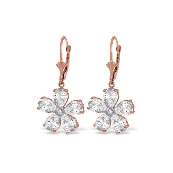 Genuine 4.43 ctw White Topaz & Diamond Earrings 14KT Rose Gold - REF-49T8A