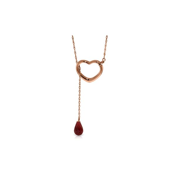 Genuine 3.3 ctw Ruby Necklace 14KT Rose Gold - REF-37M4T