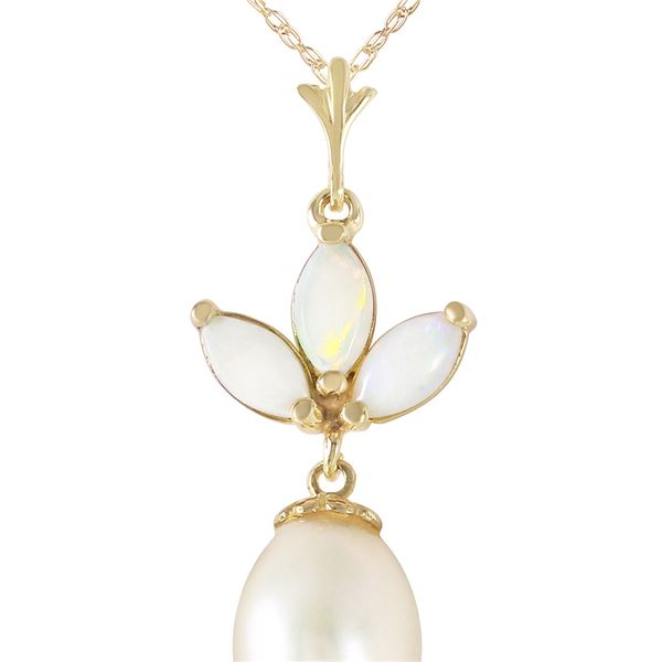 Genuine 4.75 ctw Opal & Pearl Necklace 14KT Yellow Gold - REF-25N4R