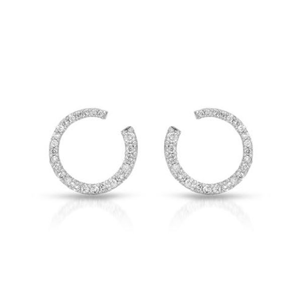 Natural 0.50 CTW Diamond Earrings 14K White Gold - REF-66F6M