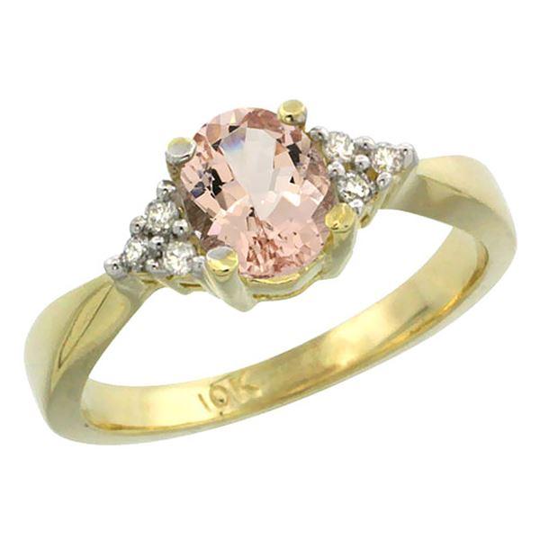 0.73 CTW Morganite & Diamond Ring 14K Yellow Gold - REF-39F5N