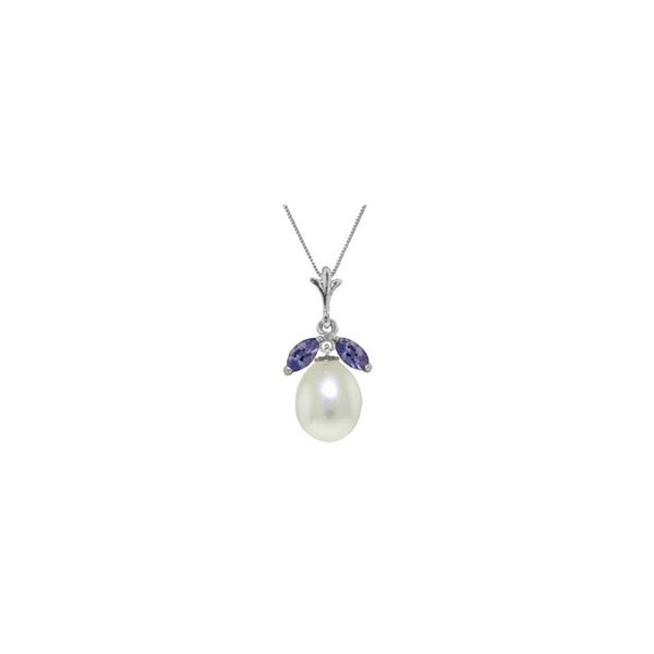 Genuine 4.5 ctw Pearl & Tanzanite Necklace 14KT White Gold - REF-28Y2F